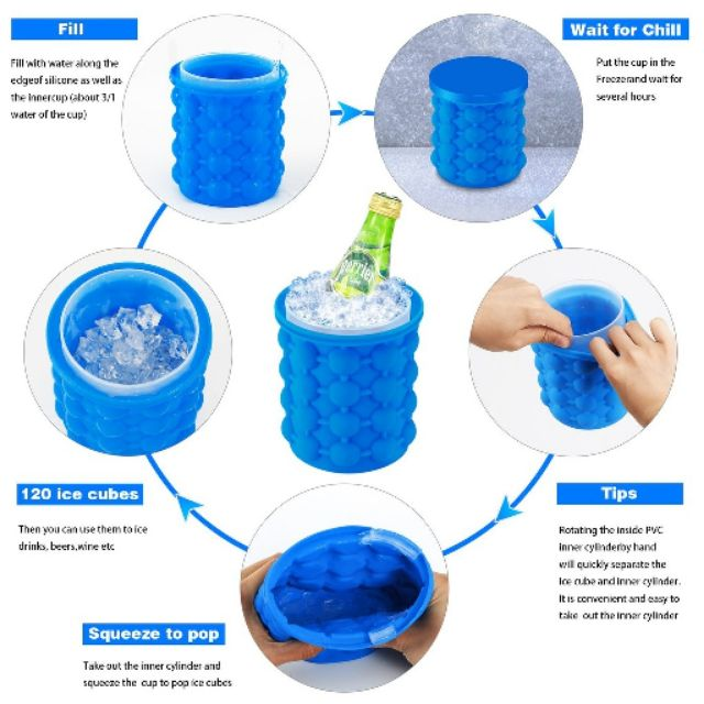Ice Cube Maker Genie Silicone Rubber Tray Molds Saving Ice Bucket ...