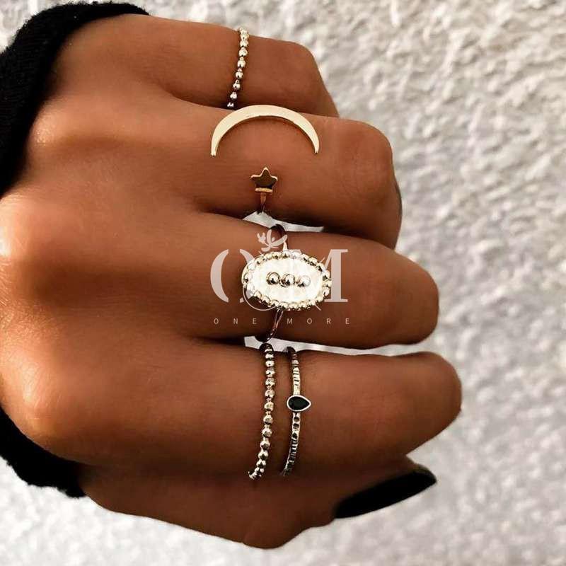 5pcs Vintage Fashion Bohemian Ring Set Women Simple Design Alloy
