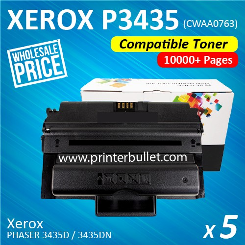 5 unit Fuji Xerox Phaser 3435 / CWAA0763 Compatible Laser Toner Cartridge