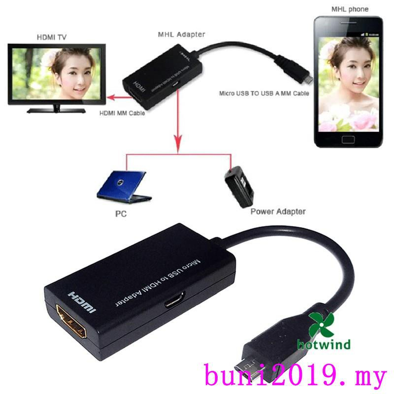 2019 Micro USB Male Cable to HDMI Female Adapter Cable for