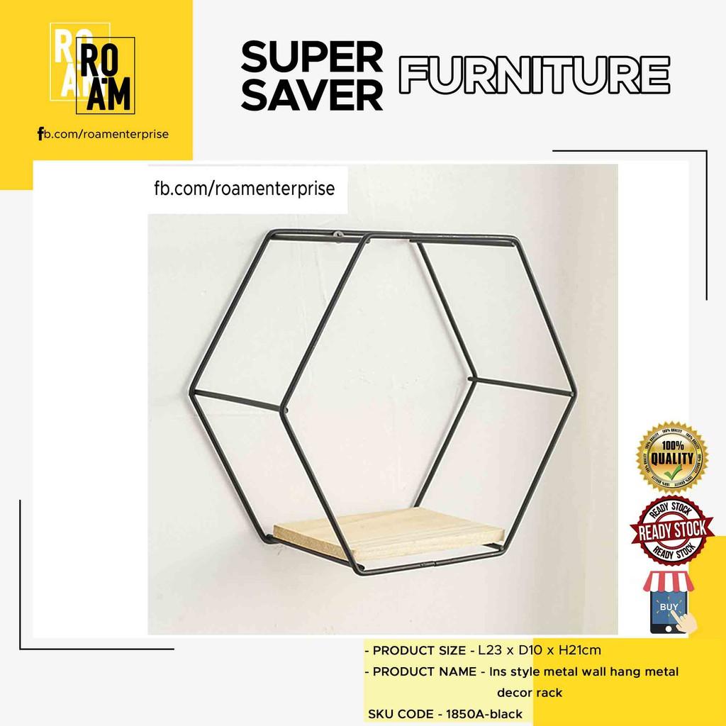 Insta style metal wall hang metal decor rack single hexagon shape rack