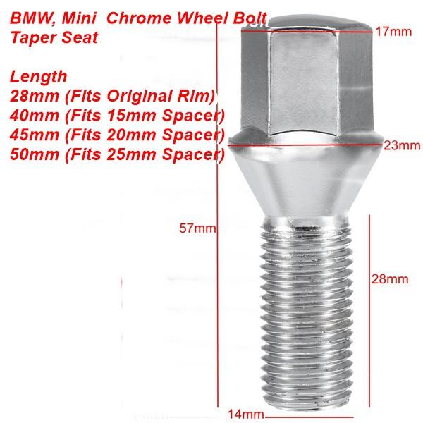40MM LONG CAR ALLOY WHEEL BOLTS M14x1.5 14MM TAPER SEAT 17MM