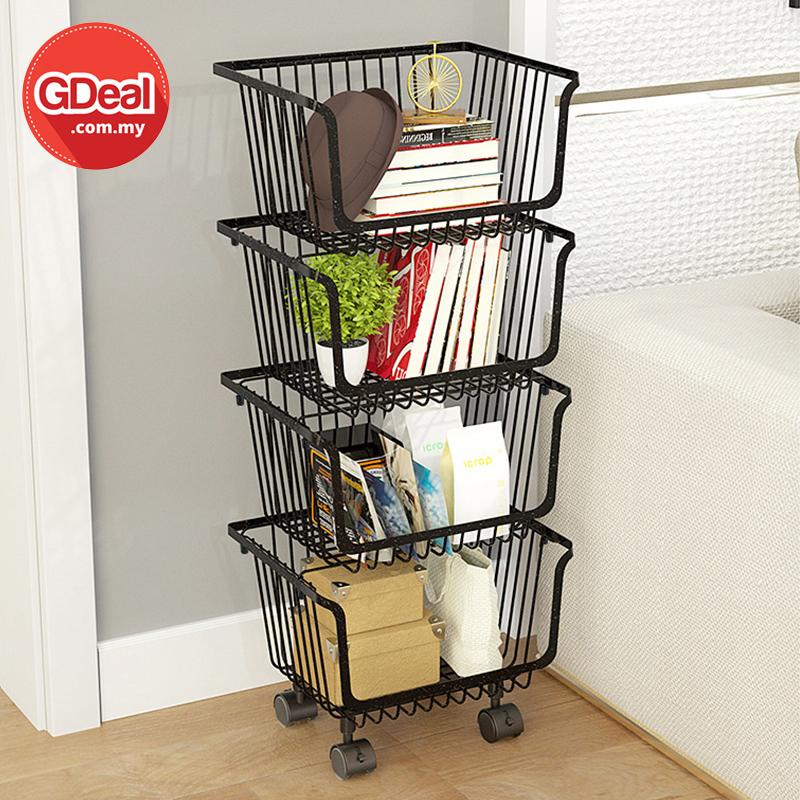 GDeal Home Living 4 Tier Kitchen Vegetable Trolley Shelf Rack Metal Storage Cart With Wheels