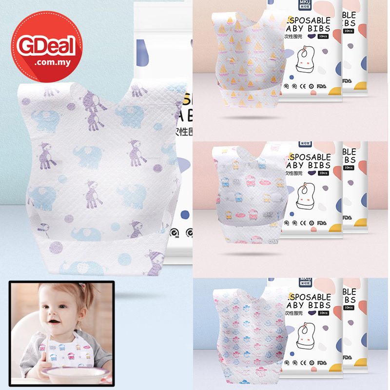 GDeal 10pcs Waterproof Children Disposable Bib Non Woven Maternity Supplies Baby Towel Bib For Eating