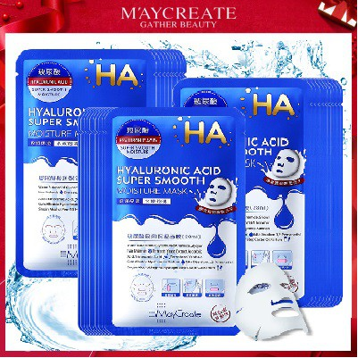 【Maycreate】 Hyaluronic Acid Super Smooth Moisture Facial Mask Hydrating 玻尿酸单片面膜正品蚕丝面膜