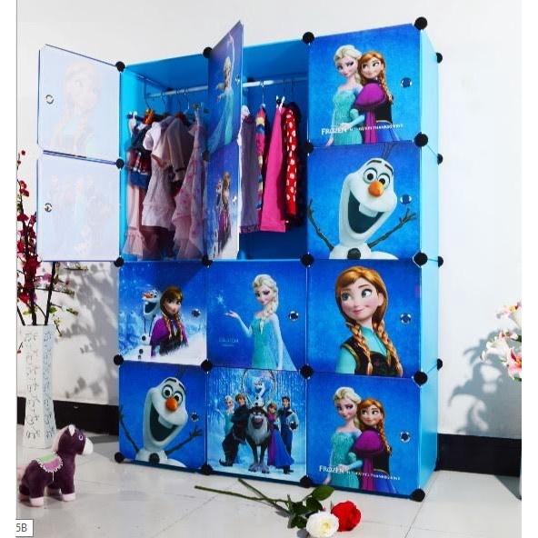 READY STOCK BM] ALMARI BAJU FROZEN BLUE 12C DIY Rack Storage Cabinet Wardrobe With Almari Hanger (BFZ12B)