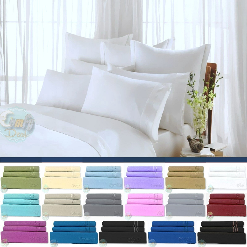 Egyptian Comfort 1800 Count Ultimate 4 Piece Bed Sheet Set Deep Pocket Sheets Shopee Malaysia