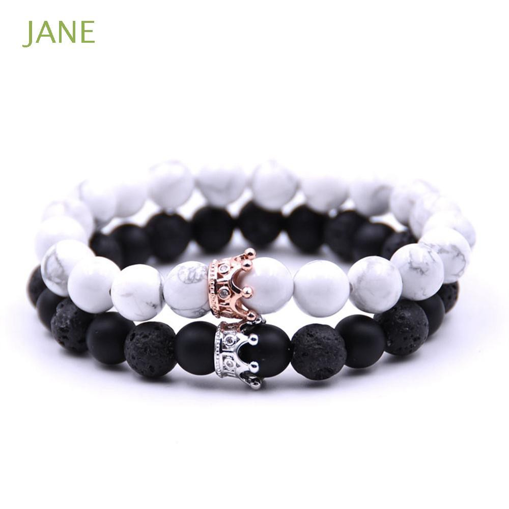 169cee76ca230 Couple Jewelry Unisex Beads Chain Adjustable Crown Lava stone Bracelet
