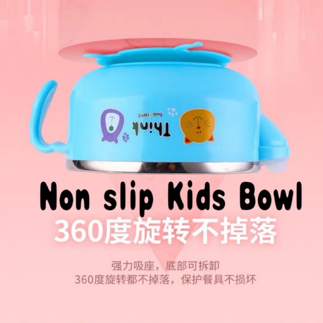 [READY STOCK] Baby stainless steel water injection bowl insulation anti-fall bowl food supplement bowl