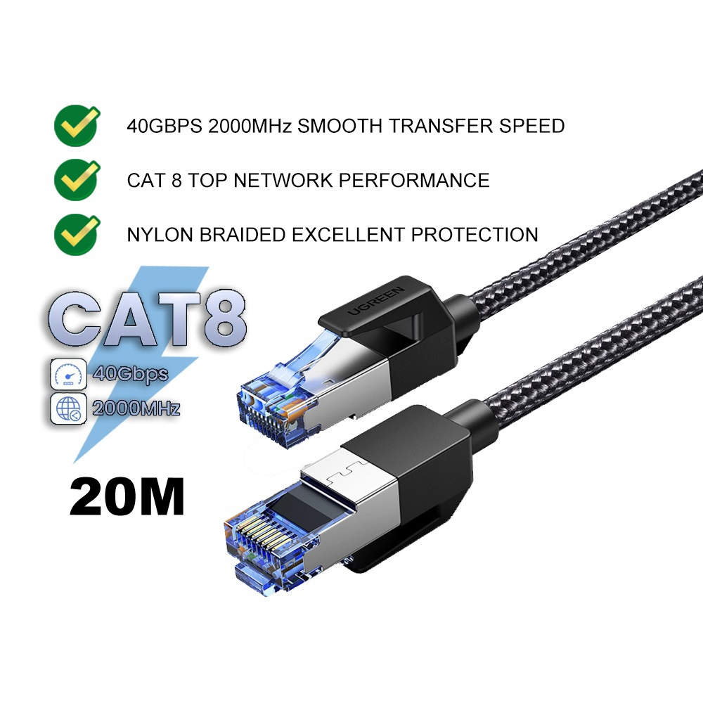 UGREEN CAT 8 Ethernet LAN Cable 40Gbps Networking Nylon Braided Internet Cord Laptop PS4 Printer Router RJ45 Network