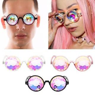 Round Glasses Kaleidoscope Eyewears Crystal Lens Party Rave EDM Sunglasses