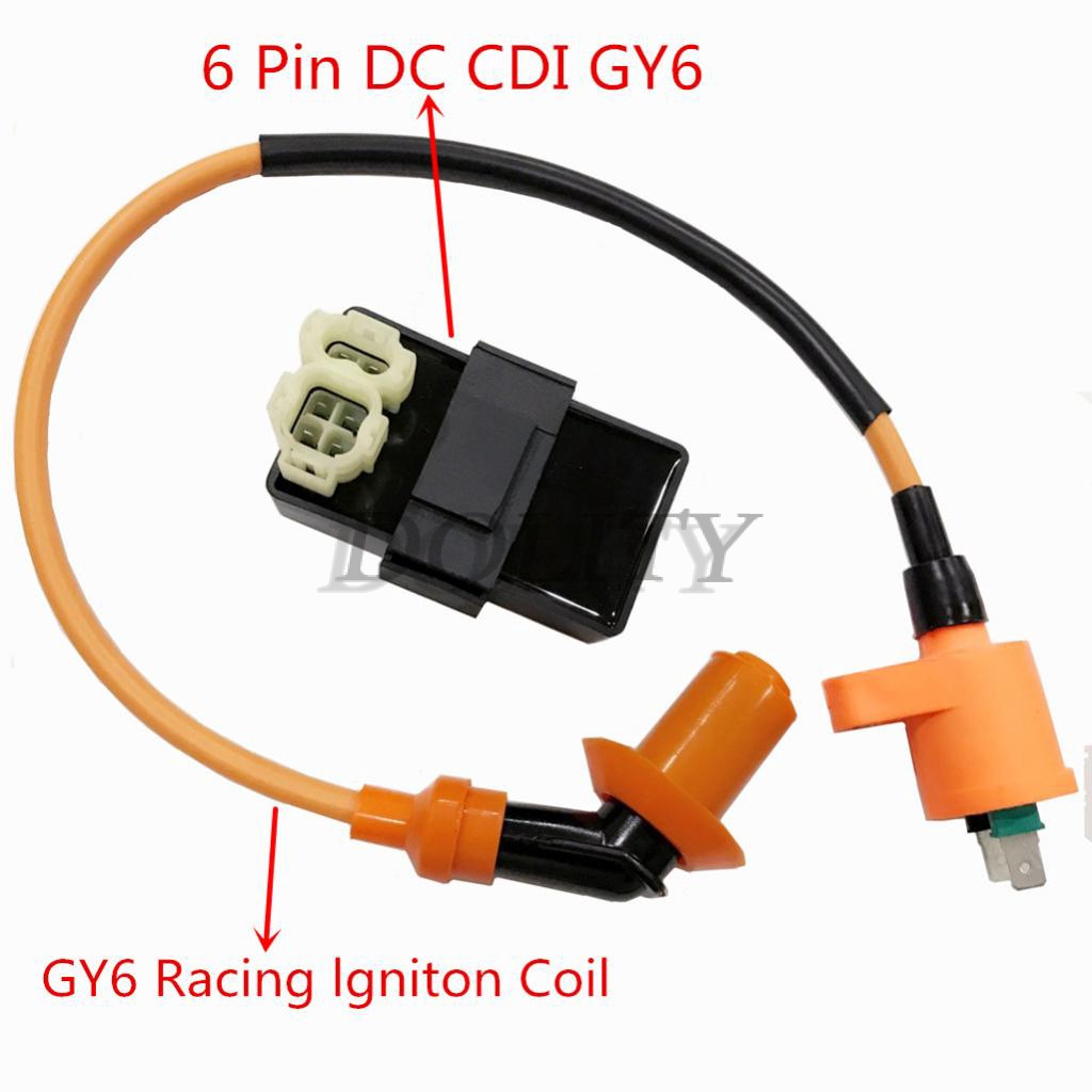 6 Pins DC CDI Box Racing Ignition Coil for GY6 50cc 125cc 150cc Engine Moped