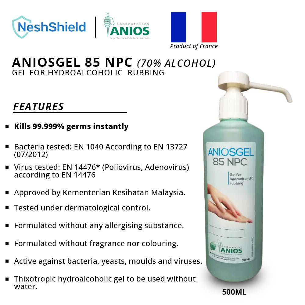 [Ready To Ship] Neshshield Aniosgel 85 NPC Disinfecting Gel For Hydroalcoholic Hand-Rubbing 500ML