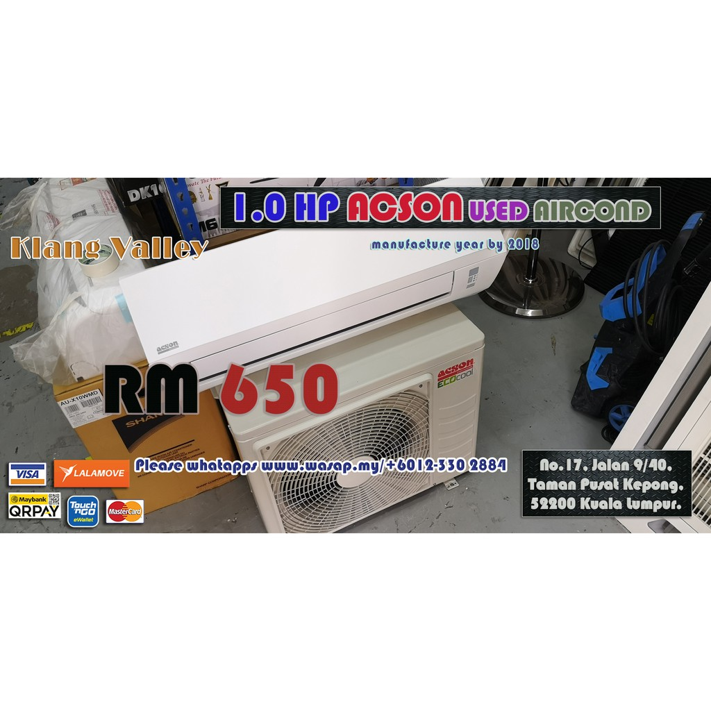1.0HP Wall Type Acson Used Aircond / Second-hand / Klang Valley /Year By 2018 / Non-inverter type / R22