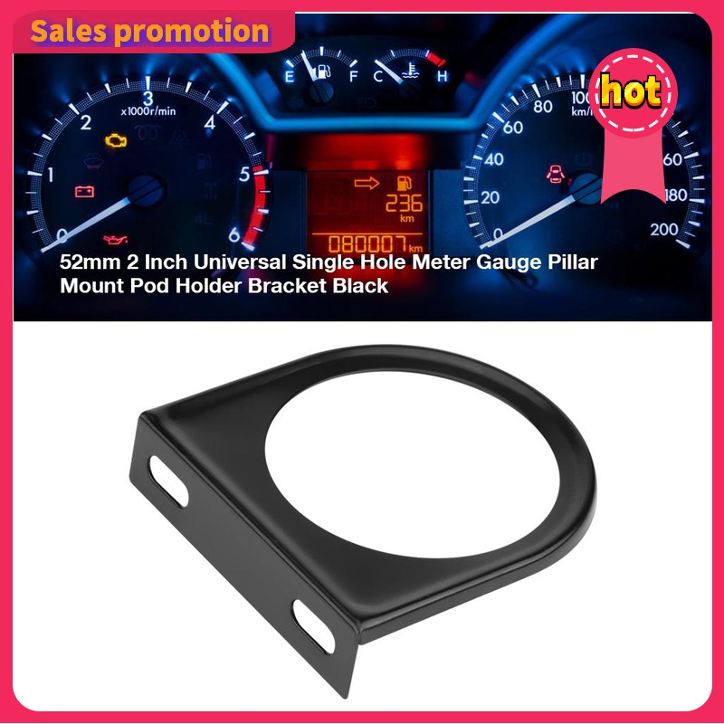 Black 2 52mm Universal Single Hole Dashboard Gauge Mount Car Dash Gauge Holder Pod Mount for Vehicle Car Truck