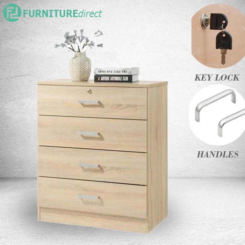 Furniture Direct Bardon 4 Drawer Chest With Key Lock Chest Of Drawer Almari Laji Shopee Malaysia