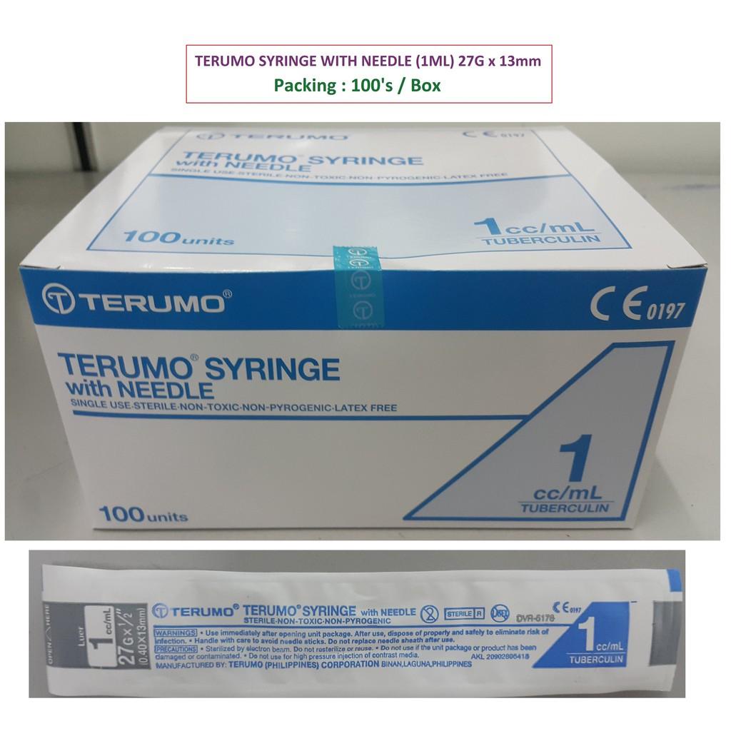 TERUMO SYRINGE WITH NEEDLE (TUBERCULIN)- 1ML ( 27G x 1/2