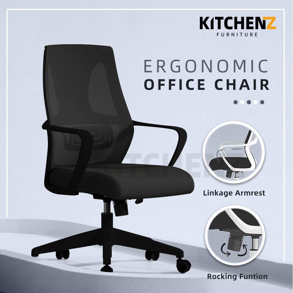 (2 Years Warranty) Kitchen Z Mesh Office Chair with Ergonomic Design / Kerusi Pejabat / Black / White- HMZ-OC-MB-9011