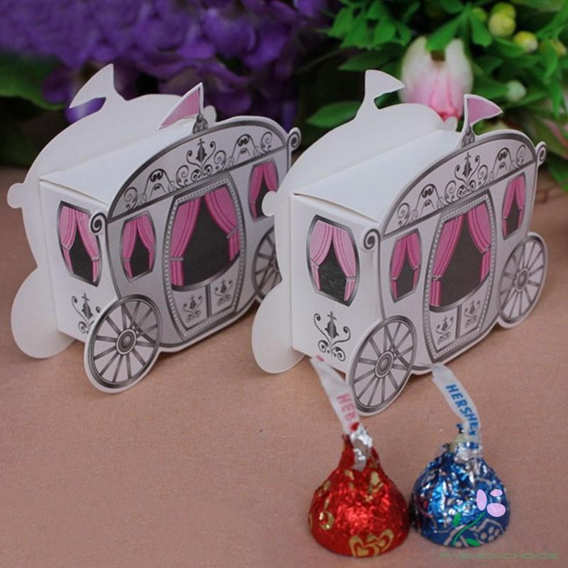 "50pcs//100pc Cinderella/""Enchanted Carriage""Wedding Favor Sweet Boxes Wedding Gift"