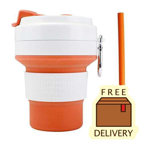 Foldable Cup with Straw for Outdoor Camping Travel Office BPA Free 350ml(Orange)