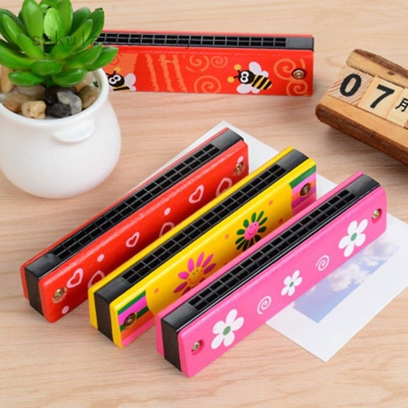 1 Pcs New Wooden Harmonica Instrument Kids Children Musical Early Learning Toys