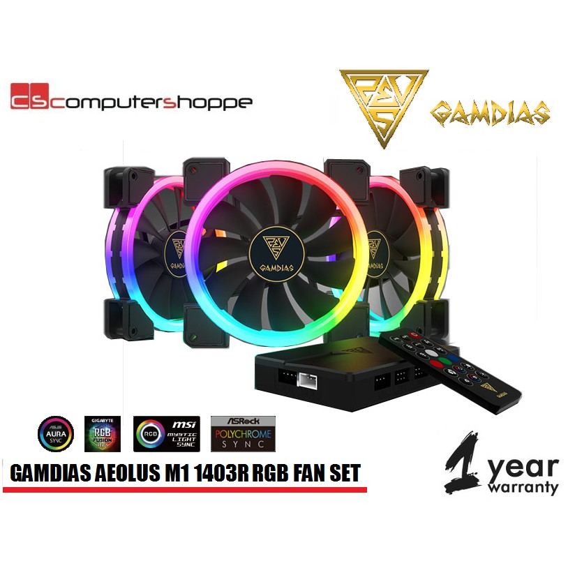 Gamdias AEOLUS M1 1404R 3pcs 14'' Fan with Controller
