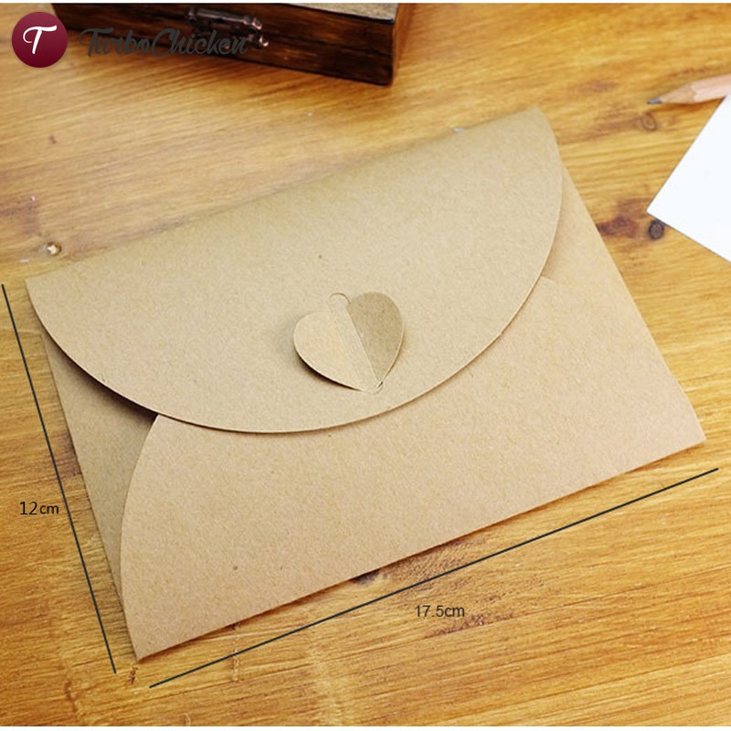 T 50pcs Lot Handmade Brown Paper Bag Mini Envelope Heart Kraft