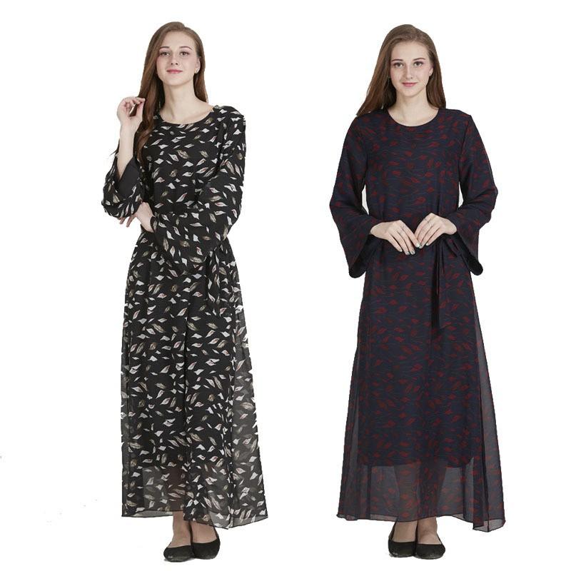 c70c0b3946 Women Vintage Elegant Muslism Maxi Dress Retro Pattern Printed Full Length  Dress