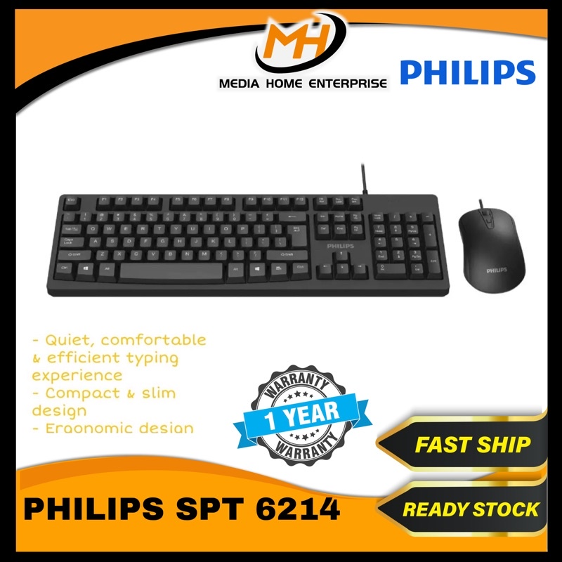 Philips Wired Combo Mouse & Keyboard SPT6214 - Quiet design, suitable for office used (Black)