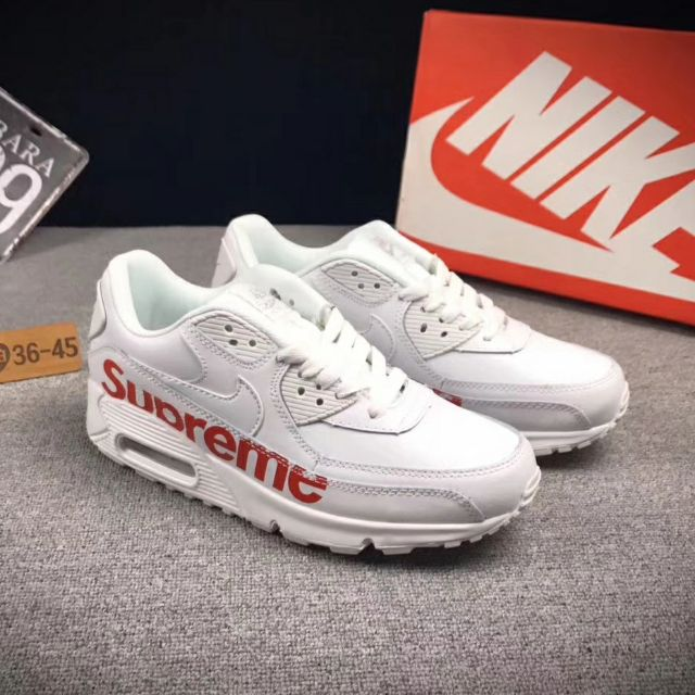 promo code 20850 2ae83 Nike Airmax 90 X Supreme white sneakers men women unisex shoe Air Max day  run