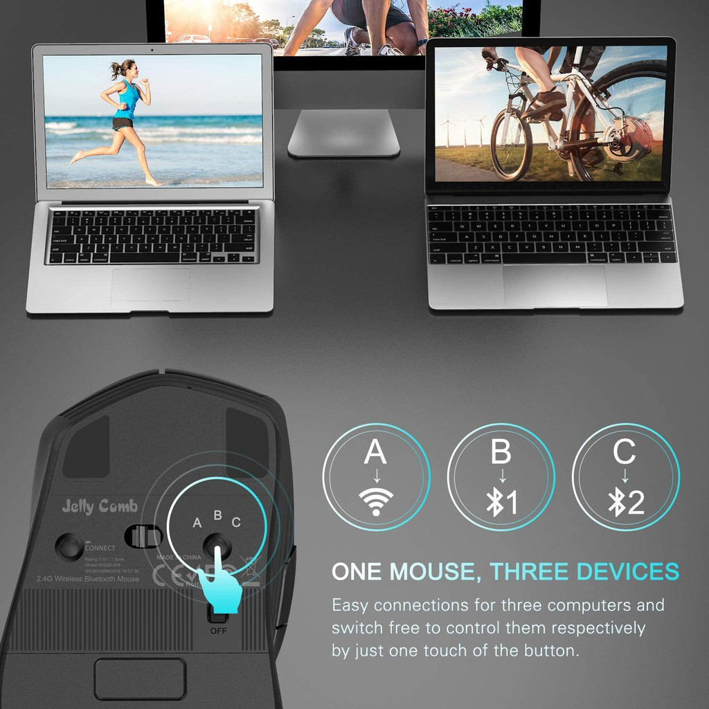 Wireless Mouse, Jelly Comb M018 Ergonomic Multi-Device Wireless Mouse 2.4GHz Wireless Bluetooth Mouse, Easy-Switch