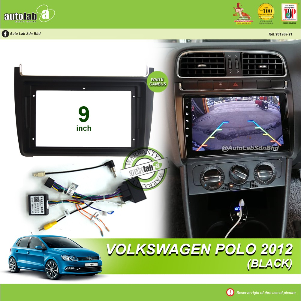 """Android Player Casing 9"""" Volkswagen Polo 2012 Black (with Socket VW & VW Canbus Module + Antenna join) )"""