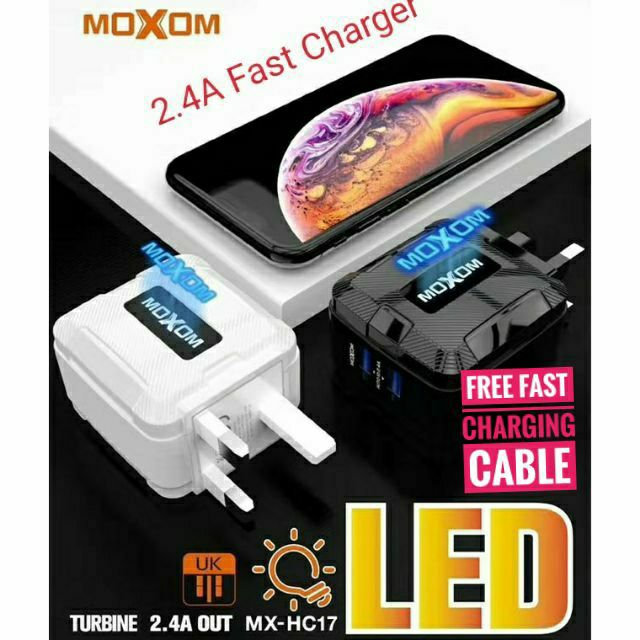 MOXOM Fast Charger 2 USB PORT WALL CHARGER WITH LED MULTIPLE SECURITY And  Fast Charging Cable | Shopee Malaysia