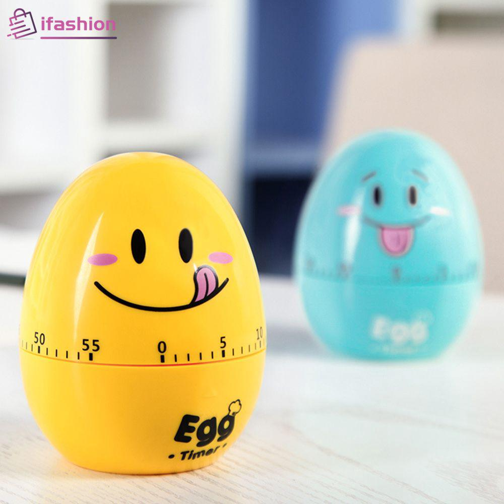 Cartoon Egg Timer Plastic Emoji Kitchen Mechanical Alarm Clock 60 Minute Fshn