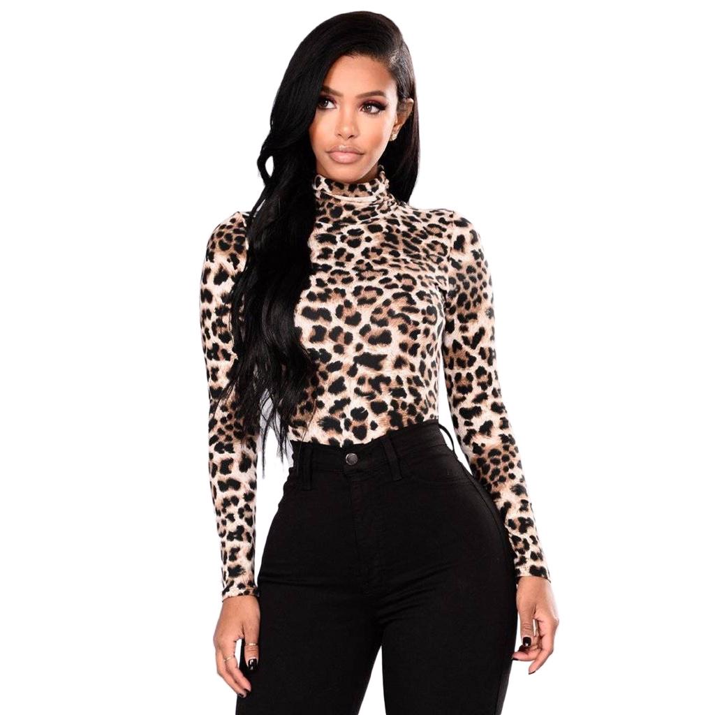 UK Women Long Sleeve Asymmetrical Long Top T Shirt Leopard Print High Low Blouse