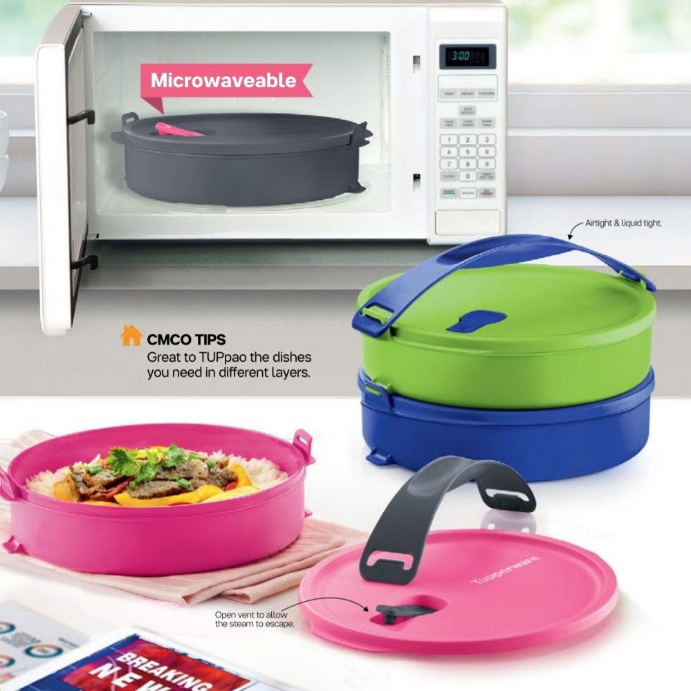 [HOT🔥 SALE] TUPPERWARE Microwave Round Click To Go - 880ml x 4