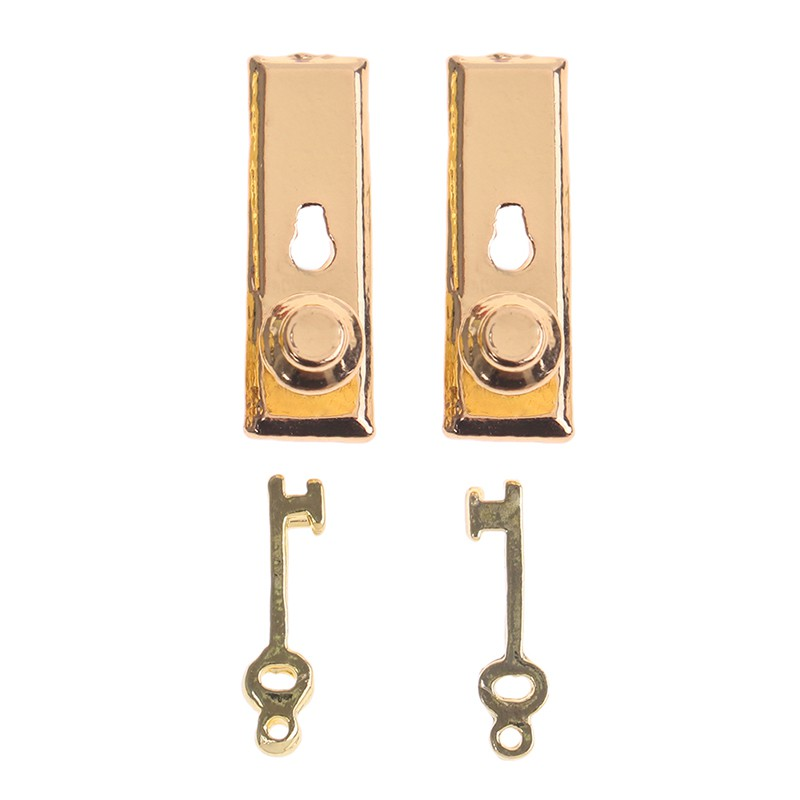2 Set Dollhouse Miniature Metal Knobs Keys Keyplate Door Accessory  ~T