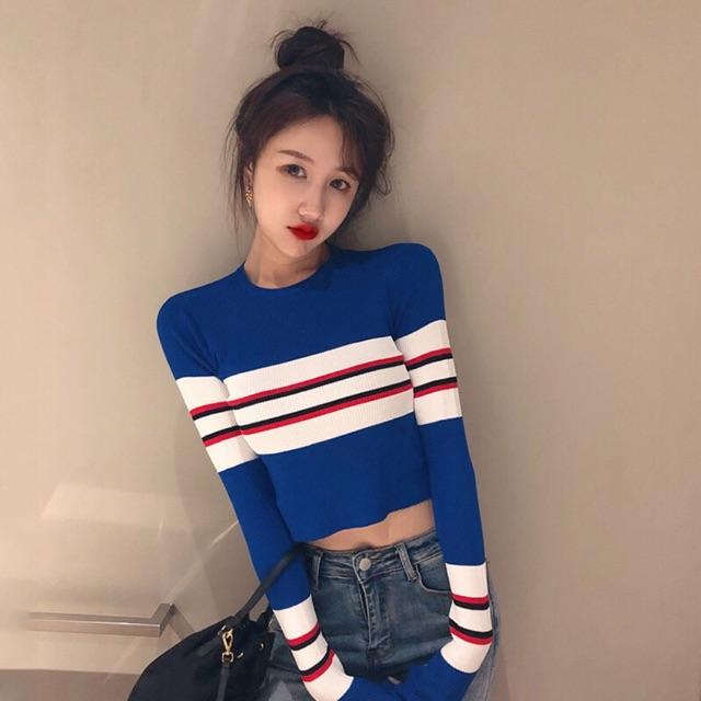 【Free Size】Vintage short knit top 秋装新款复古小香风条纹短款毛衣时尚针织衫长袖T恤女潮