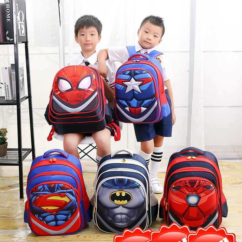 Childs Kids 3D Cartoon Printed School Bags Spiderman Superman Shoulder Backpacks