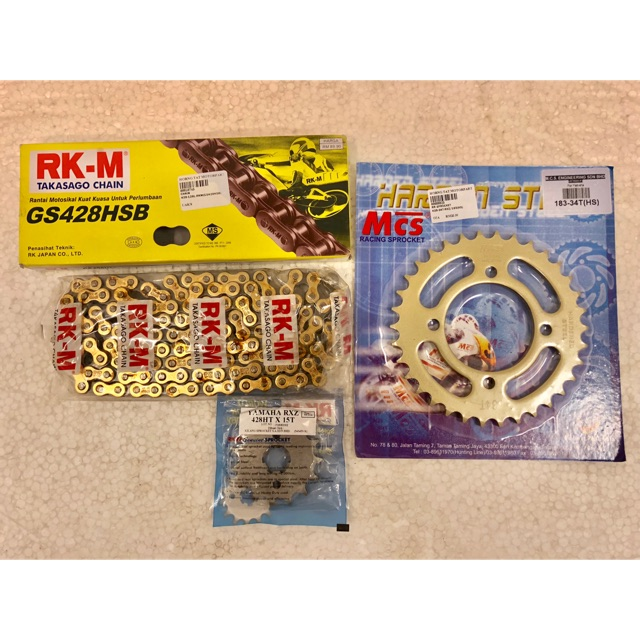 Sprocket Set Gold 428 Combo For Yamaha LC135 & RXZ 135 & 125 Z/ZR