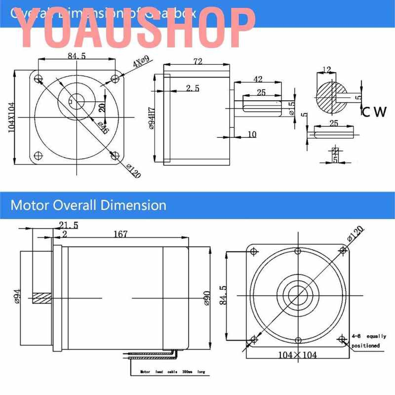 24V 300W High Torsion Permanent Magnet DC Geared Metal Motor 15mm Shaft 300RPM Gear Reducer