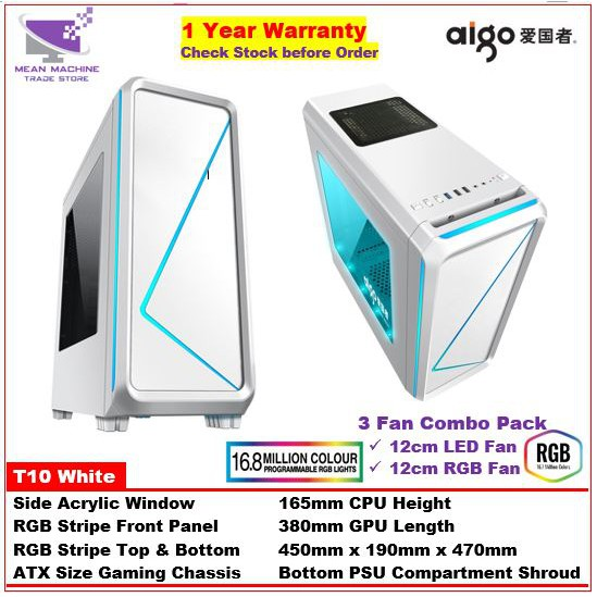 #Aigo T10 RGB Front Panel ATX Acrylic Gaming Chassis with RGB Stripe (Combo  3 Fan Pack)#