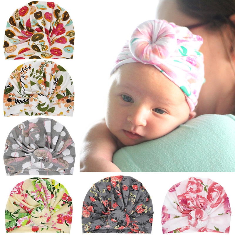 048acce67 Newborn Hat Knotted Print Hospital Hats Turban Head Cap for Infant Boys  Girls
