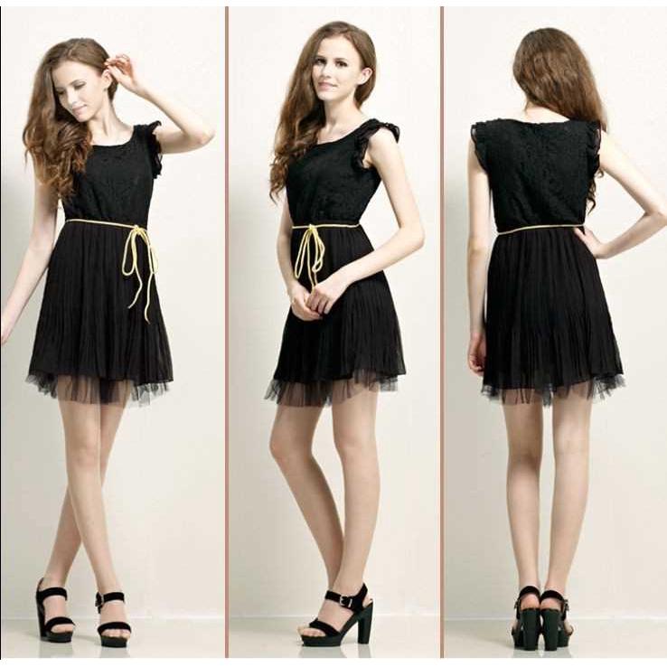 Summer Women Dress Chiffon One-piece Floral Lace Butterfly Sleeve Pleated Skirt Mini Dress Black (Black)