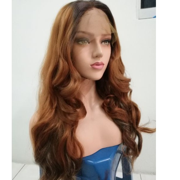 READY STOCK front lace wig HONEY BROWN 26 INCHES WAVY HAIR WIG