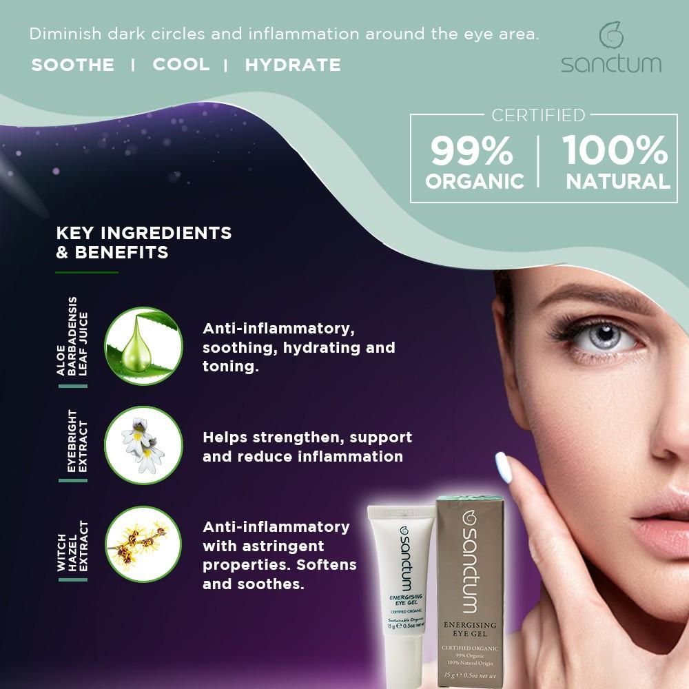 Sanctum Organic Energising Eye Gel 15g Lighten Eyes Dark Circles & Inflammation | Soothe, Cool & Hydrate