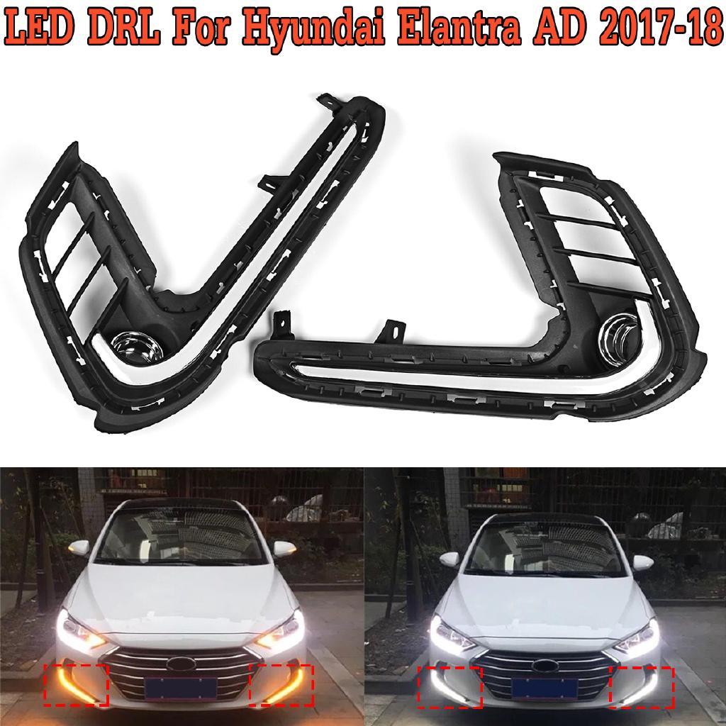 LED Daytime Running Fog Lights DRL w//Turn Signa k For Hyundai Elantra 2017-2018