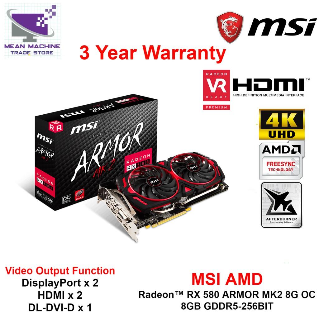 MSI AMD Radeon RX 580 ARMOR MK2 8G OC 8GB GDDR5 TORX 2 0 FAN Graphic Card