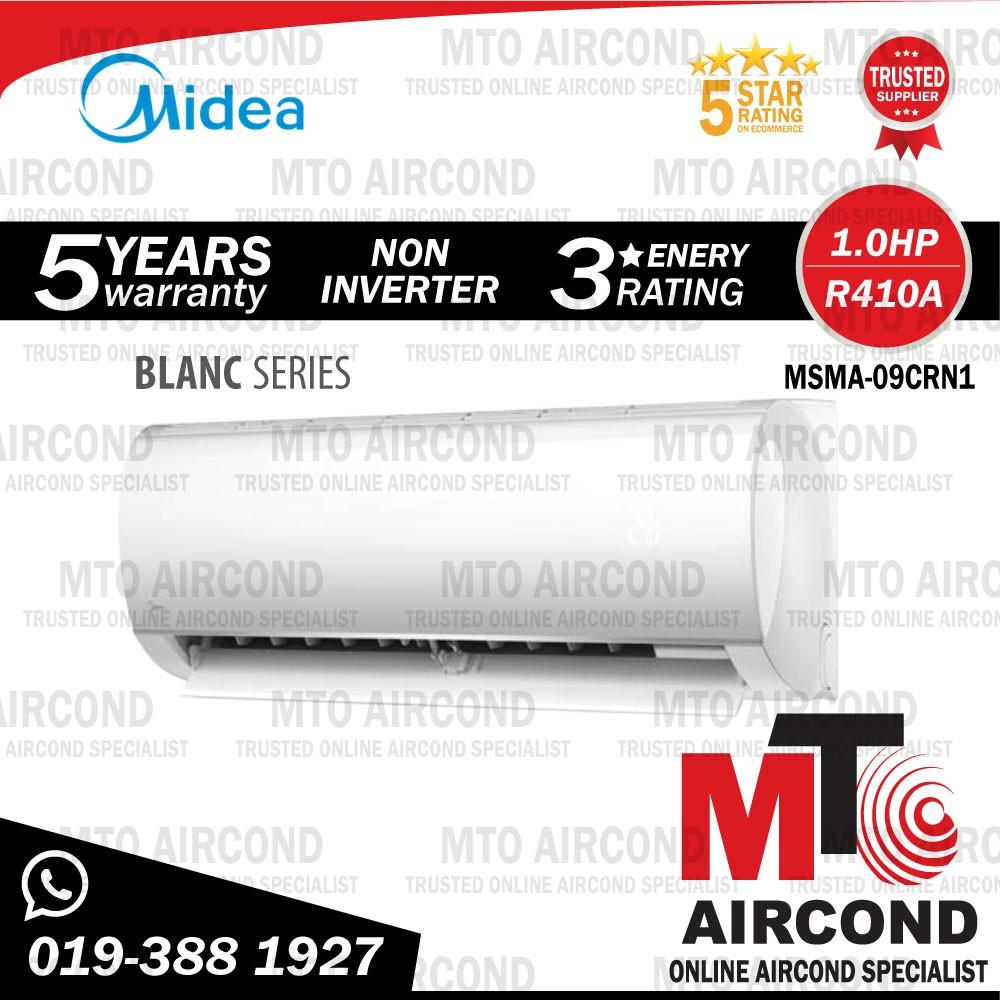 [ MTO ] MIDEA R410A 1.0HP NON INVERTER AIR CONDITIONER BLANC SERIES AIRCOND MSMA-09CRN1