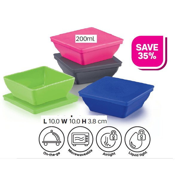 Tupperware (2 Tier+1 Handle)  Microwaveable Round Click to Go 880ml/Zen Square Small